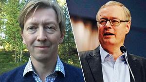 Oppositionsrådet Mikael Rosén (M), till höger försöker vinna över centerpartiet till sin sida för att försöka erövra rådhuset i Falun.
