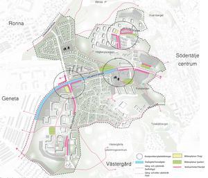 Inringat ses tänkta knutpunkter, nya så kallade stadsdelscentrum. De rosa markeringarna visar var det är lämpligt med verksamheter, som handel och service, medan den blå färgen visar var kommunen vill skapa en stadsgata. De gulgröna områdena är tänkta mötesplatser som torg och parker. Skiss: Södertälje kommun
