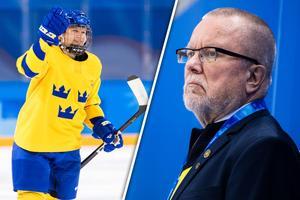 Maja-Nylén Persson skyddas av Leif Boork. Bild: Petter Arvidson/Bildbyrån/Montage