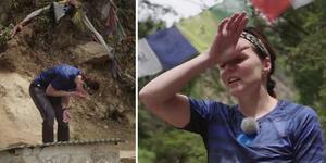 Sanna Kallur bröt ihop av skratt efter bajsolyckan i Expeditionen. Foto: TV4