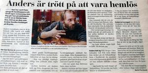 Faksimil från Gefle Dagblad kring julen 2003 när Anders Gustafsson – efter ett drygt decennium av tungt drogmissbruk – tog sina första steg mot sitt nya liv.