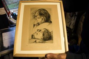 Känd tecknad illustration av Dan Andersson vid poetens död.