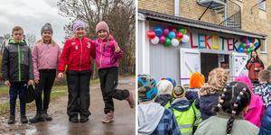 Nu har Klockarbergsskolan i Skinnskatteberg fått ett lekotek fyllt av leksaker de kan låna. Det är eleverna Theodor Myrland, Elsa Karlsson,  Ella Andersson och Ebba Brandt väldigt glada över.