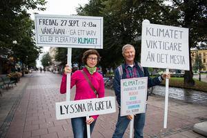 Johann Thurdin och Jan-Olof Strindlund från Fridays for future Sundsvall hoppas på en stor uppslutning under manifestationen den 27 september.