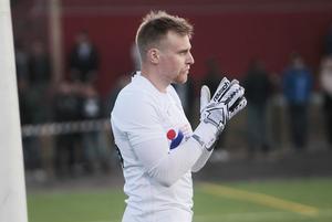 Emil Johansson fick släppa en boll förbi sig i målet.