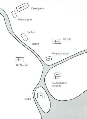 De viktigaste byggnaderna i Västerås mot slutet av medeltiden. Slottet låg på en ö. Klostret (där Stadshuset ligger idag) var kringflutet av Svartån och Lillån (Munkgatan). Kartan är hämtad från Stig Welinders bok