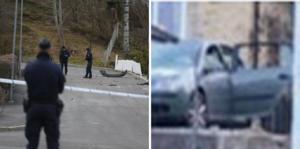 Bomben placerades intill två bilar på Enedalsvägen i Karlhov. Bilen här till höger med bortsprängd sidoruta, var en av dem som forslades bort för teknisk undersökning på torsdagen.