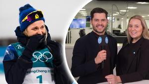 Stina Nilsson hyllas efter sitt OS-guld. Bild: Carl Sandin/Bildbyrån/Montage