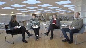 """I kväll startar kulturens bokcirkel där vi läser Svetlana Aleksijevitjs senaste bok """"De sista vittnena"""". Från vänster: Cecilia Ekebjär, Gunilla Kindstrand, Bo G Jansson och Kristian Ekenberg."""