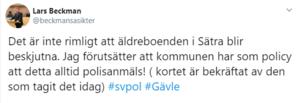 Så här skrev Lars Beckman på Twitter i söndags, med tillhörande bilder tagna inifrån Forellplan. Bild: Skärmdump