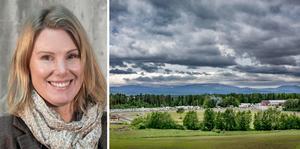 Linda Andersson är en del av Miljöpartiets landsbygdsnätverk. Vy över Ovalla i Oviken, Bergs kommun.
