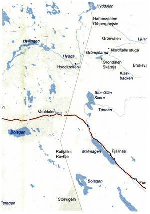 Karta över gränstrakterna upprättad av Han Pettersson.
