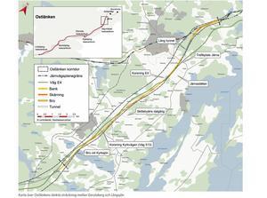 Ostlänken ska gå mellan Järna och Linköping. På sträckan fram till Tullgarn byggs fem tunnlar och sju broar. Skärning betyder att spåren är nerschaktade under omgivande marknivå. Bild: Trafikverket