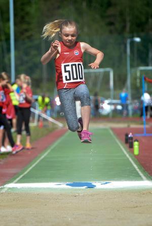 Klara Sundin från Sundsvalls Friidrott i längdhoppartagen.