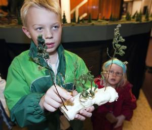 Med piprensare och hårspray har Joel Forsberg skapat träd och fogskum gav snö. Att det inte behöver vara så dyrt och krångligt att skapa modelljärnvägar med tillbehör, fick barn lära sig i utställningens workshop. Lillasyster Nellie Forsberg tittar störögt på.