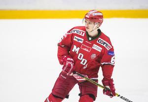 Modo Hockeys backtalang Mattias Norlinder har brutit båtbenet. Bild: Izabelle Nordfjell