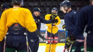 Nichlas Falk instruerar spelarna på träning.