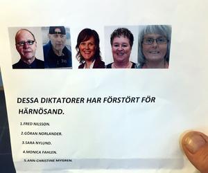 Den här nedsättande informationen har spridits i Härnösand. Kommunen har nu gjort en polisanmälan.