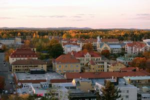 Från utsiktstornet Oscarsborg syns Söderhamn med teatern i mitten. Foto Anna Hedelius
