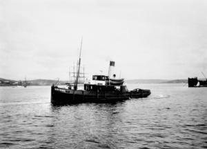 Bogserångaren Höfding tuffade ut från Kubikenborgs sågverk i Sundsvall 1899. Årtalet på fotografiet är okänt. Foto: SCA(publ)/www.bildhotellet.seBildnummer: B218_02.