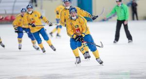 Johan Löfstedt gjorde det fjärde av Sveriges mål.Foto: Rikard Bäckman / Bandypuls.se / TT