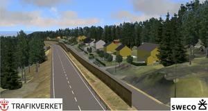 Riksvägen delen mellan ST1-macken och avfarten till Lyviksberget kommer att byggas närmare järnvägen. Nuvarande riksväg blir lokalgata. Skiss: Sweco