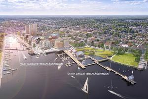 illustration: Sydväst Arkitektur och Landskap. Med åtgärder för att fördröja och rena dagvatten både på kvarters- och allmän platsmark inom Norrtälje hamnområde kommer metallhalter, kväve- och fosformängder till Norrtäljeviken att minska.