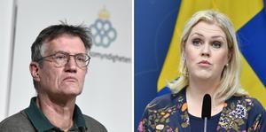 Stadsepidemiolog Anders Tegnell och socialminister Lena Hallengren (S).