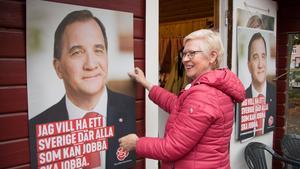 Fallen ledare. Elizabeth Salomonsson röjer i valstugan dagen efter valet. En affisch på Stefan Löfven har ramlat ner och Elizabeth håller upp den mot väggen igen.