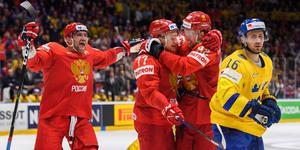 Ryssland firar Kirill Kaprizovs 4–1-mål. Foto: Joel Marklund/BILDBYRÅN
