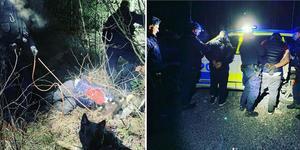 Två av tre misstänkta båtmotortjuvar kunde gripas efter att ha jagats med hundar och helikopter en lång sträcka genom skogen. Foto: Norrtäljepolisen via Instagram