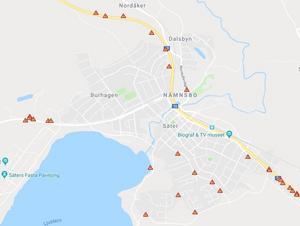 Här har de rapporterade viltolyckorna inträffat i centrala Säter. Vid varje markering kan det ha skett flera olyckor. Karta: Viltolycka.se