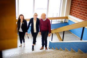 Rektor Lena Andersson Malm,  verksamhetschef Eva Hildebrand och Johan Rasmussen, utvecklingsledarevid Hufb.