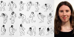 Emelie Markgren med några av sina teckningar ur