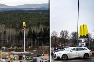Skylten i Söderhamn är 24 meter högre än den i Bollnäs.