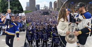 Calle Gunnarsson, med Josefin och dottern Elise, har haft en fantastisk vecka efter triumfen i Stanley Cup. Här är familjens egna bilder från firandet i St Louis.