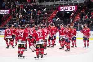 Örebro fick äntligen jubla igen för tre poäng. Och nya tränartrion fick en smakstart. Bild: Dennis Ylikangas/Bildbyrån