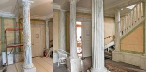 Före och efter. På bilden till vänster kan man se hur det såg ut när arbetet pågick och till höger det färdiga resultatet. Före-bilden är tagen av Kaj Halminen.