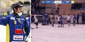 Patrik Gustafsson Thulin vad nöjd med att hans lag lyckades knipa segern i premiären – trots att det blev en stökig avslutning. Bild: Andreas Tagg / Bandyallsvenskan
