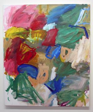 Roger Petterson är inne i en process där han söker ett nytt uttryck och letar efter det naiva och barnsliga i sina målningar.
