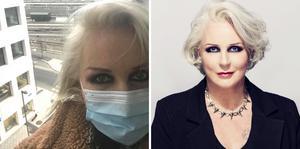 I bilden till vänster har Iréne Theorin gått ut på balkongen i sin tillfälliga lägenhet i centrala Oslo, där hon för tillfället sitter i en veckolång karantän innan den planerade föreställningen på Operan. Högra bilden, foto: Chris Gloag.