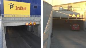 Garageportarna på Erikslund är tunga. De ska stängas när affärerna på Erikslund stänger.