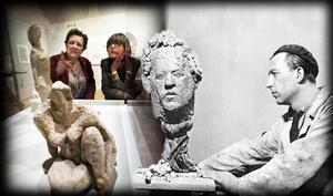 Katarzyna Forsberg på länsmuseet i samspråk med Nina Öhman, som producerat utställningen. Arne Jones till höger. Bilden är ett collage.
