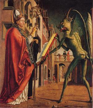 Augustinus möter djävulen. Målning av Michael Pacher från 1475.