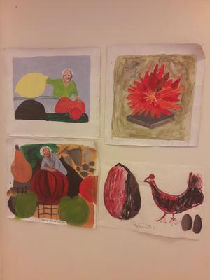 Konstnären bland sina frukter.