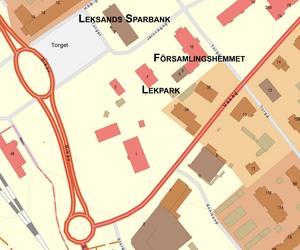 Lekparken kommer ligga mitt i Rättviks centrum. (karta: Lantmäteriet)