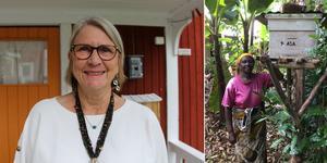 Kerstin Kiltoft har under flera år sålt bikupor för att hjälpa befolkningen i samhället Mamba i Tanzania. Här visar Rosemary upp en bikupa som Kerstins vän Åsa har donerat. Bild: Britta Söderberg/Privat