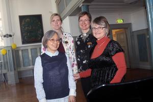 Fumiko Okino, Emma Gärdsback, Sofia Lirkas och Eva Kristensson håller i barn-och musikverksamheten vid Musikens hus.