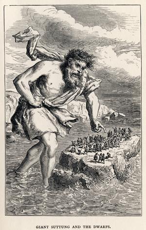 Jätten Suttung tar visdomsdrycken Skaldemjödet från dvärgarna som straff för att de dödat hans föräldrar. Illustration av Louis Huard från 1891.