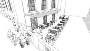 Terrassen vid Nom får byggas ut en meter i norr och rätas ut för att fästas i Storbron. Totalt utökas ytan med  16,5 kvadratmeter.  Illustration: Björn Norman
